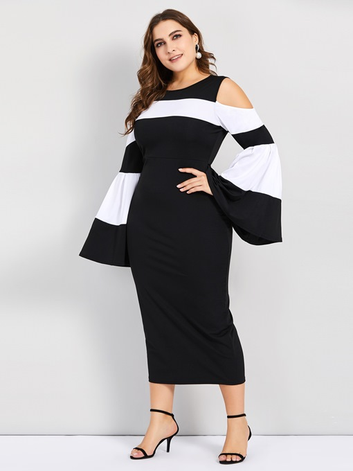 Ericdress Plus Size Patchwork Round Neck Long Sleeve Flare Sleeve Spring Dress