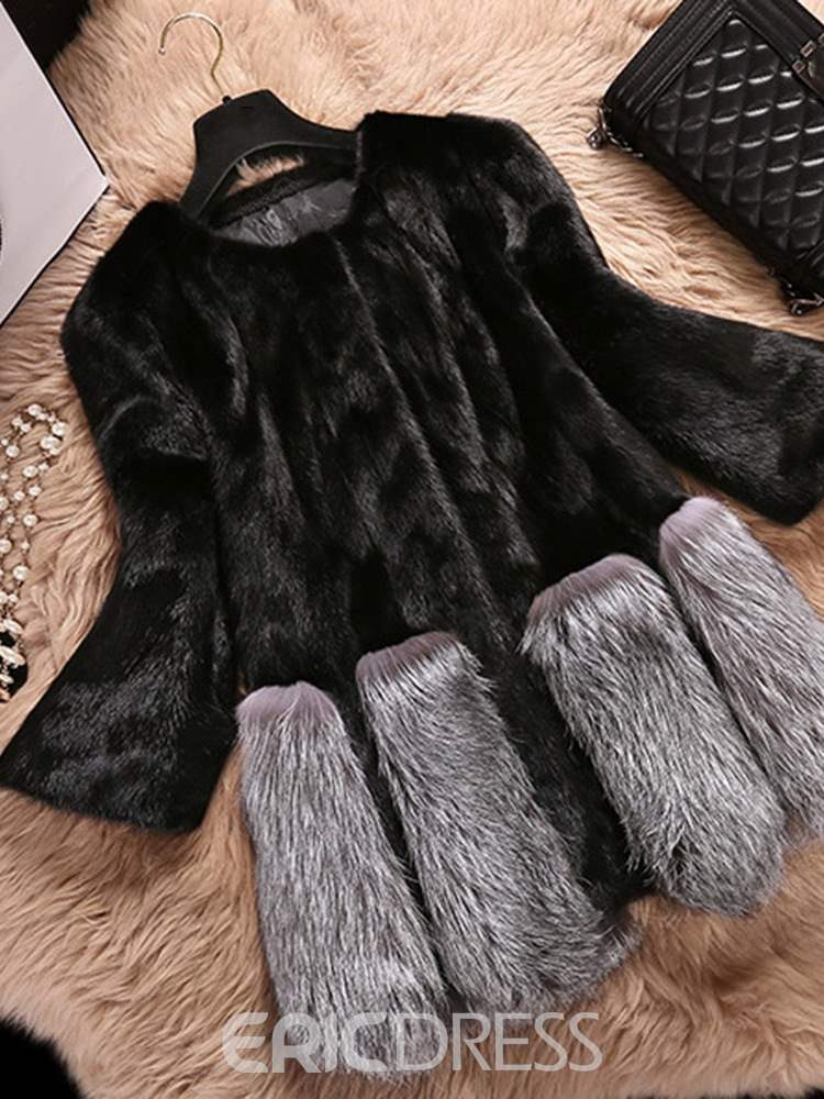 Ericdress Standard Color Block Round Neck Faux Fur Spring Faux Fur Overcoat