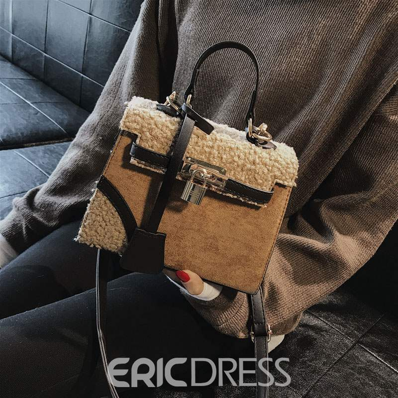 Ericdress Wool Blends Patchwork Square Tote Bags