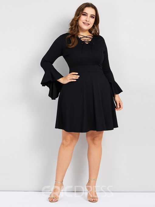 Ericdress Plus Size Three-Quarter Sleeve Lace-Up V-Neck Elegant Plain Dress