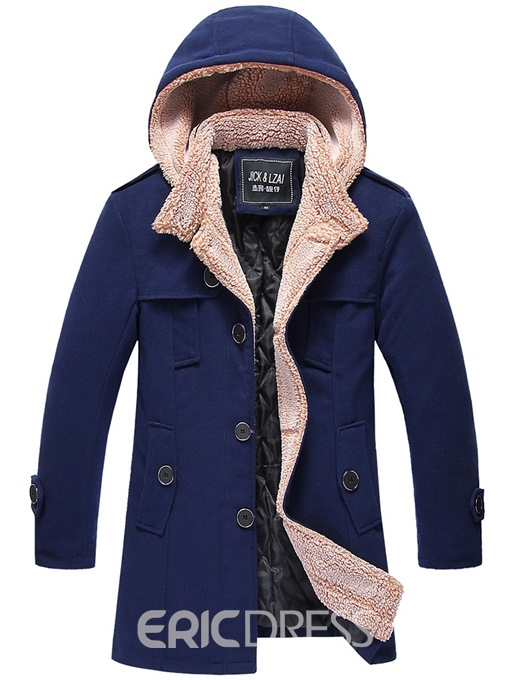Ericdress Plain Hooded Single-Breasted Mens Down Jacket
