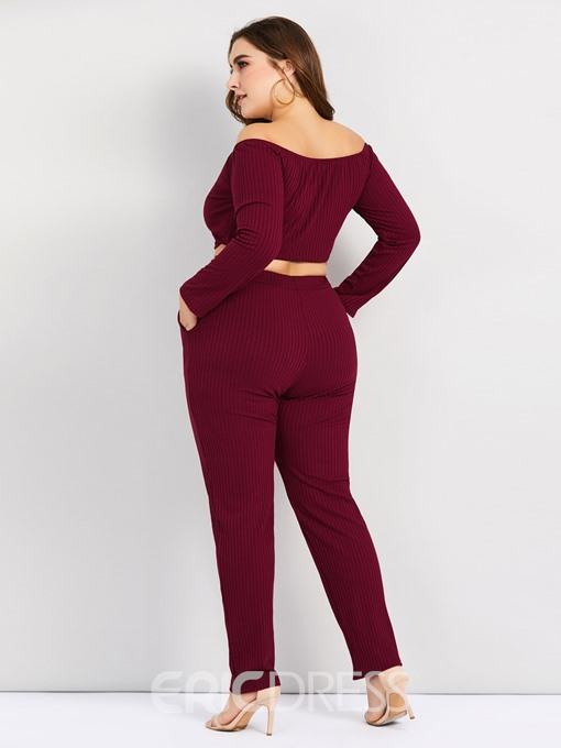 Ericdress Plus Size Plain Thread Off Shoulder T-Shirt And Pants Two Piece Sets