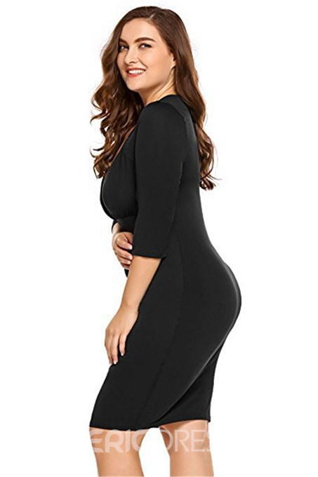 Ericdress Plus Size Three-Quarter Sleeve V-Neck Above Knee Elegant Standard-Waist Dress