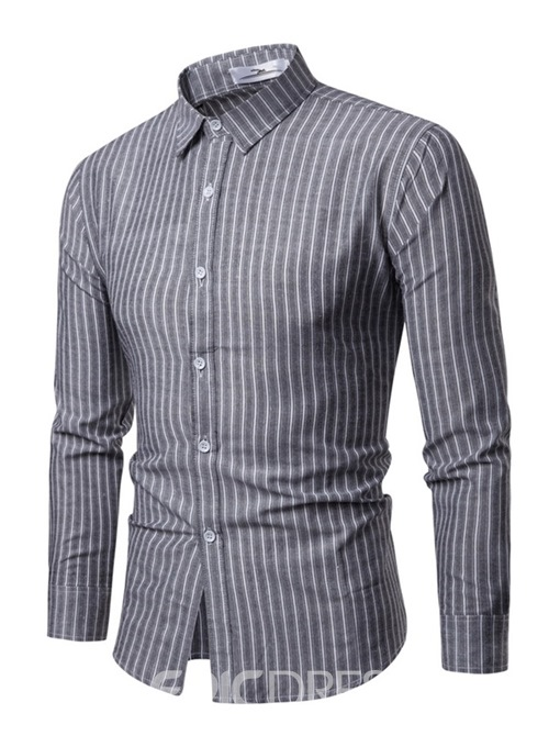 Ericdress Vertical Striped Button Up Mens Casual Lapel Shirt
