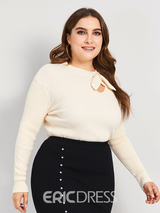 Ericdress Regular Bowknot Stand Collar Plus Size Sweater