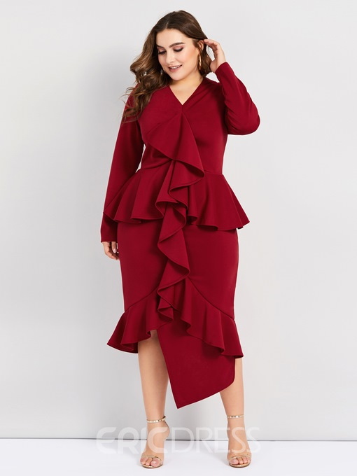 Ericdress Plus Size V-Neck Patchwork Long Sleeve Asymmetrical Regular Dress