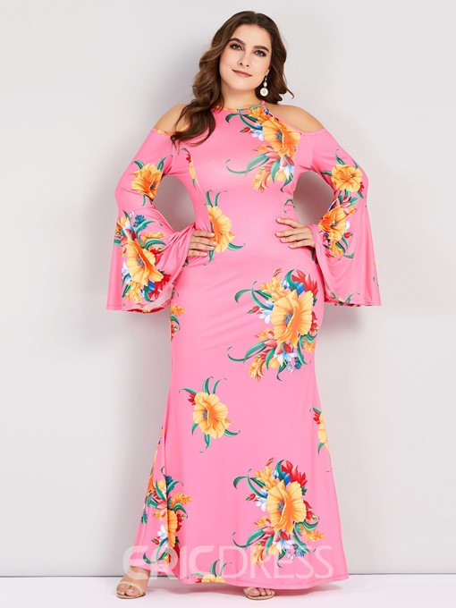Ericdress Plus Size Print Round Neck Floor-Length Flare Sleeve Mermaid Dress