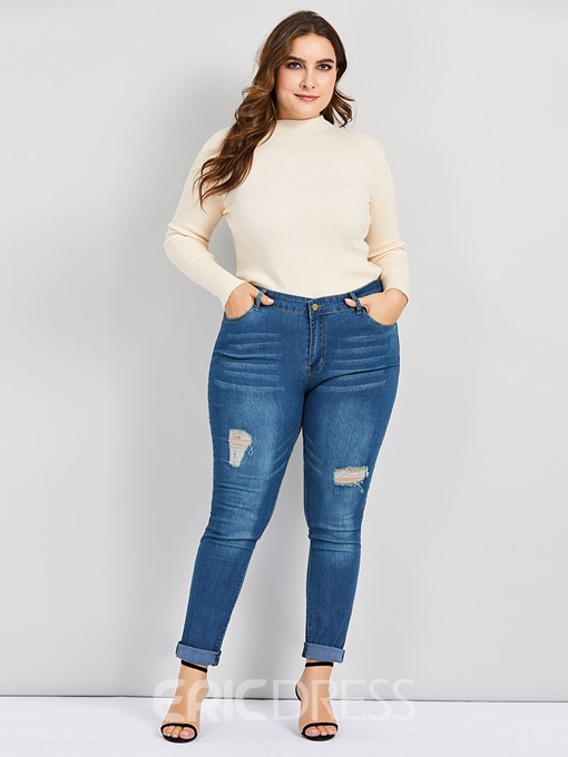 Ericdress Plus Size Pencil Pants Plain Skinny Zipper Ripped Jeans