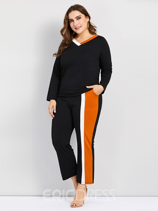 Ericdress Plus Size Color Block Patchwork T-Shirt And Pants Two Piece Sets