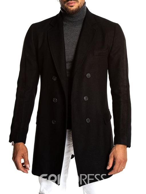 Ericdress Plain Notched Lapel Double-Breasted Mens Wool Coat