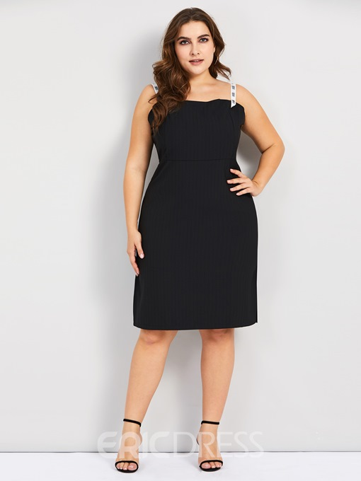 Ericdress Plus Size Knee-Length Round Neck Three-Quarter Sleeve Dress
