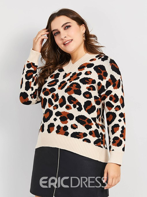 Ericdress V-Neck Leopard Fashion Plus Size Sweater