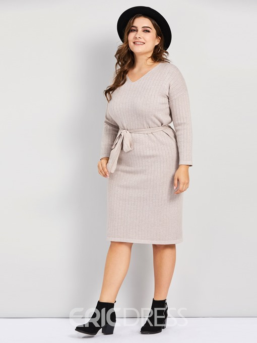 Ericdress Plus Size Three-Quarter Sleeve Knee-Length Round Neck A-Line Pullover Dress