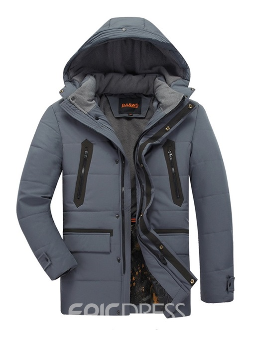 Ericdress Patchwork Mid-Length Zipper Mens Casual Down Coats
