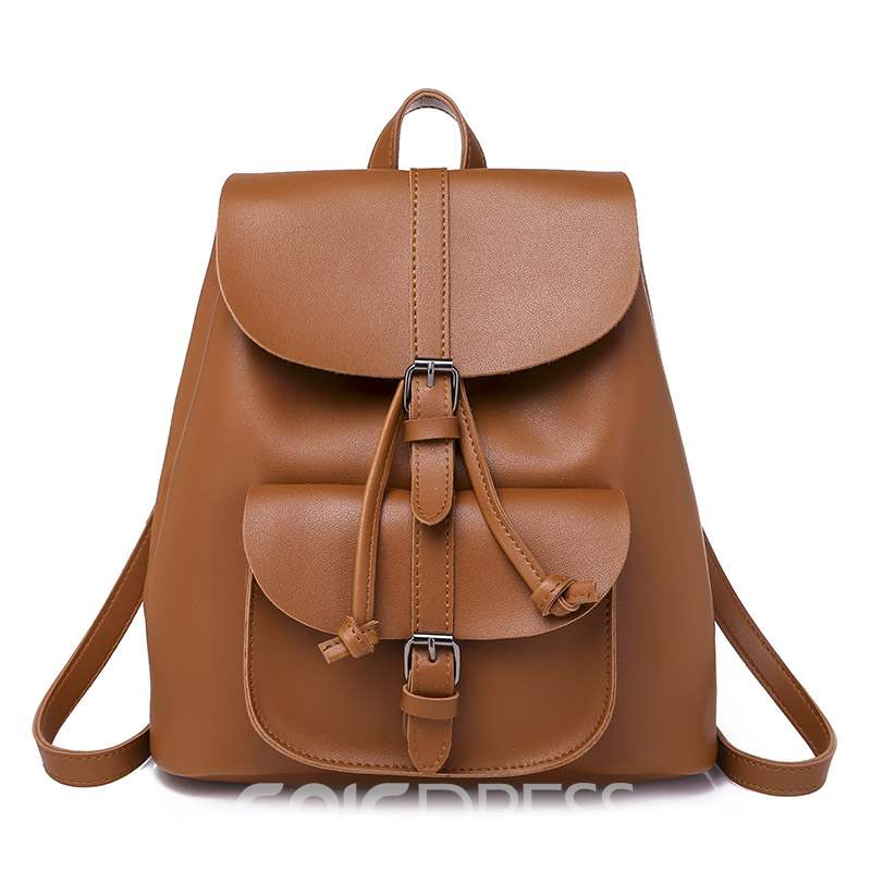 Ericdress PU Plain Belt Decorated Backpacks