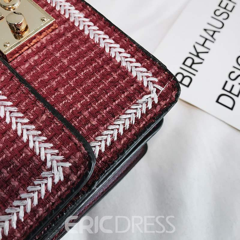 Ericdress PU Knitted Plaid Rectangle Crossbody Bags