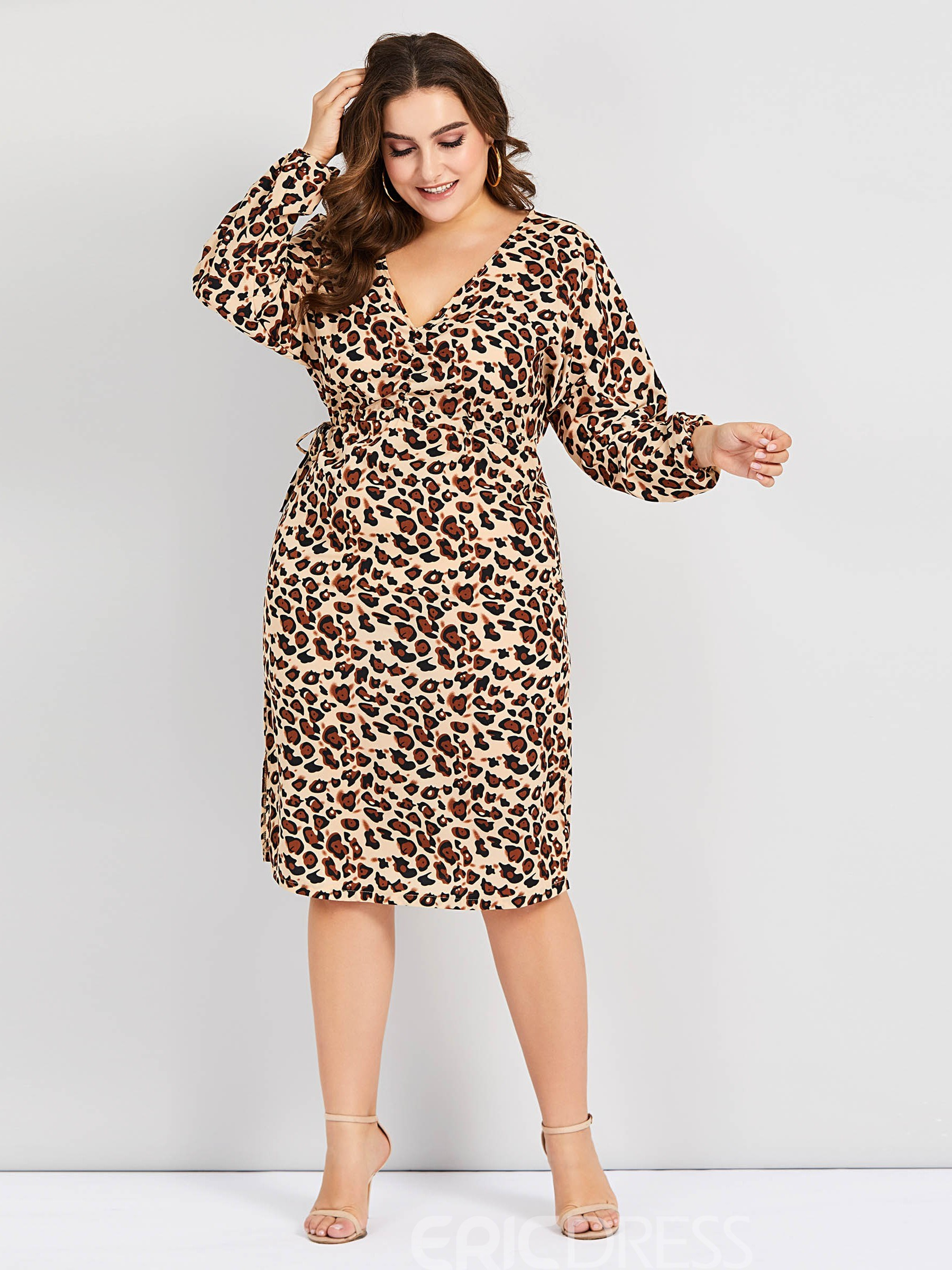 Ericdress Plus Size Long Sleeve V-Neck Mid-Calf A-Line Lantern Sleeve Dress