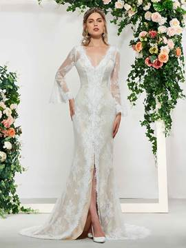 Ericdress V-Neck Appliques Long Sleeve Wedding Dress