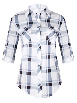 Ericdress Regular Lapel Plaid Long Sleeve Mid-Length Blouse