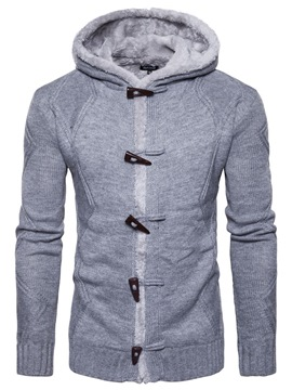 Ericdress Plain Hooded Horn Button Mens Casual Cardigan Sweater