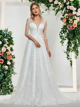 EricdressHalf Sleeves Button Court Church Wedding Dress 2019