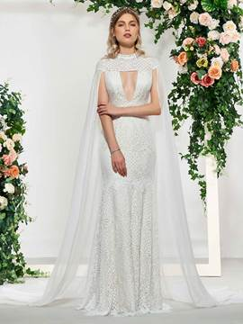 Ericdress Cap Sleeves Mermaid Outdoor Wedding Dress 2019