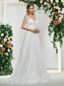Ericdress Half Sleeves Button Lace Wedding Dress 2019