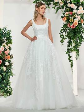 Ericdress Square Neck Lace Appliques Wedding Dress