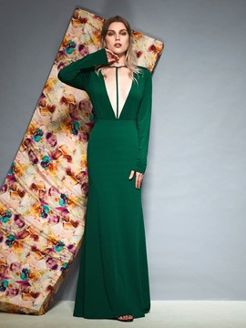 Ericdress Long Sleeves V-Neck Evening Dress 2019