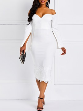 Ericdress Lace Patchwork Bodycon Off Shoulder White Dress