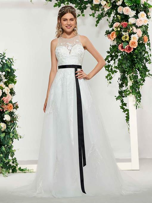 Ericdress Sashes Beading Lace Wedding Dress