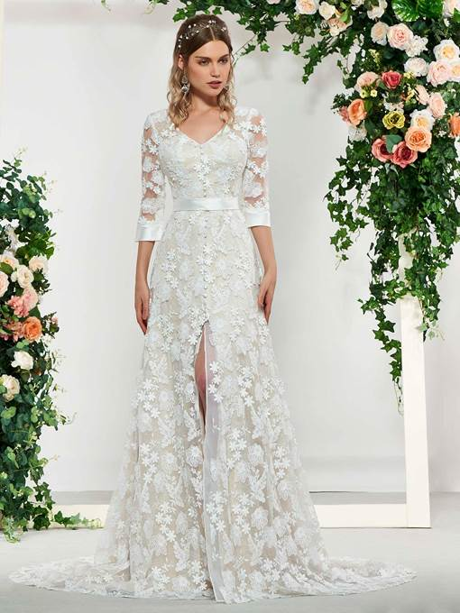 Ericdress V-Neck Half Sleeves Split-Front Lace Wedding Dress