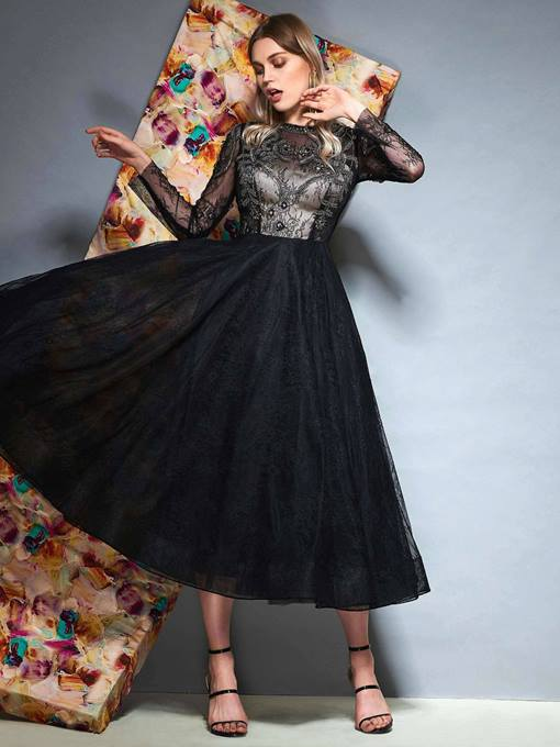 Ericdress Long Sleeves A-Line Ankle-Length Prom Dress