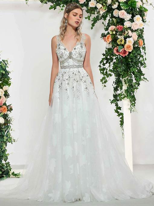 Ericdress V-Neck Beading Low Back Wedding Dress