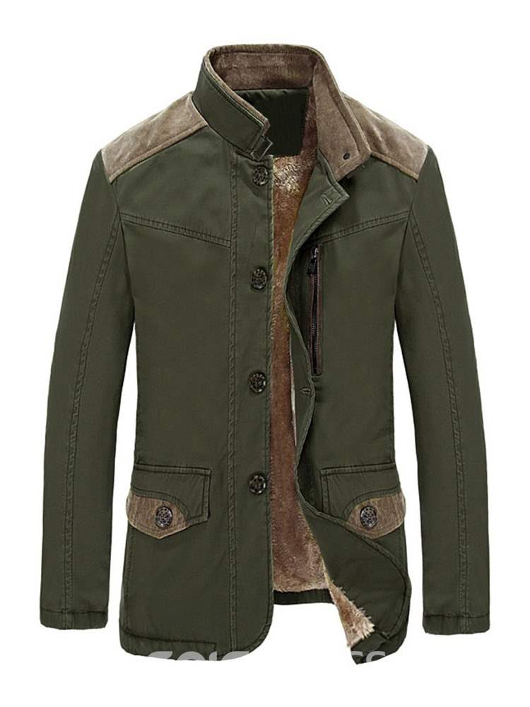Ericdress Patchwork Stand Collar Single-Breasted Mens Down Jacket