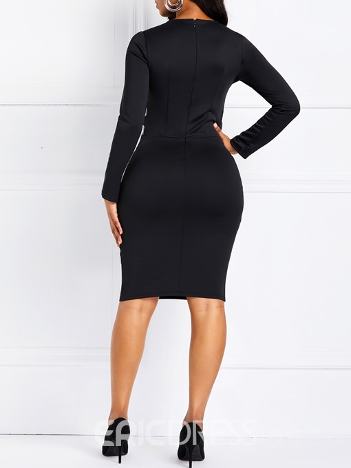 Ericdress Long Sleeves Knee-Length Patchwork Round Neck Color Block Dress