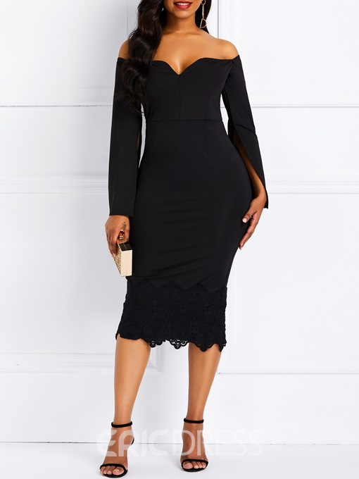 Ericdress Bodycon Lace Off Shoulder Long Sleeve Dress