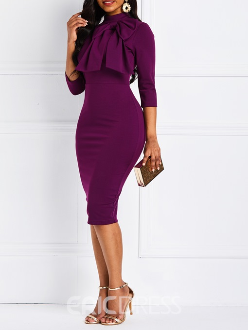 Ericdress Bowknot Pullover Pencil Dress