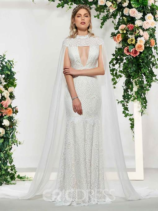 Ericdress Hollow Lace Mermaid Wedding Dress with Train