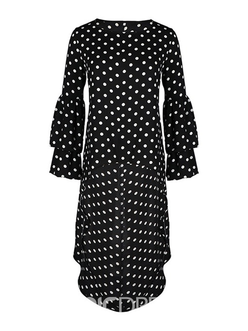 Ericdress Polka Dots Long Long Sleeve Date Night Slim T-Shirt