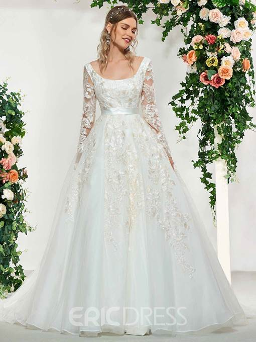 Ericdress Square Neck Appliques Long Sleeves Wedding Dress