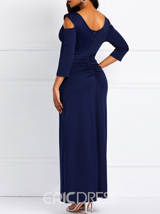 Ericdress Floor-Length Three-Quarter Sleeve Spring Pleated A-Line Dress