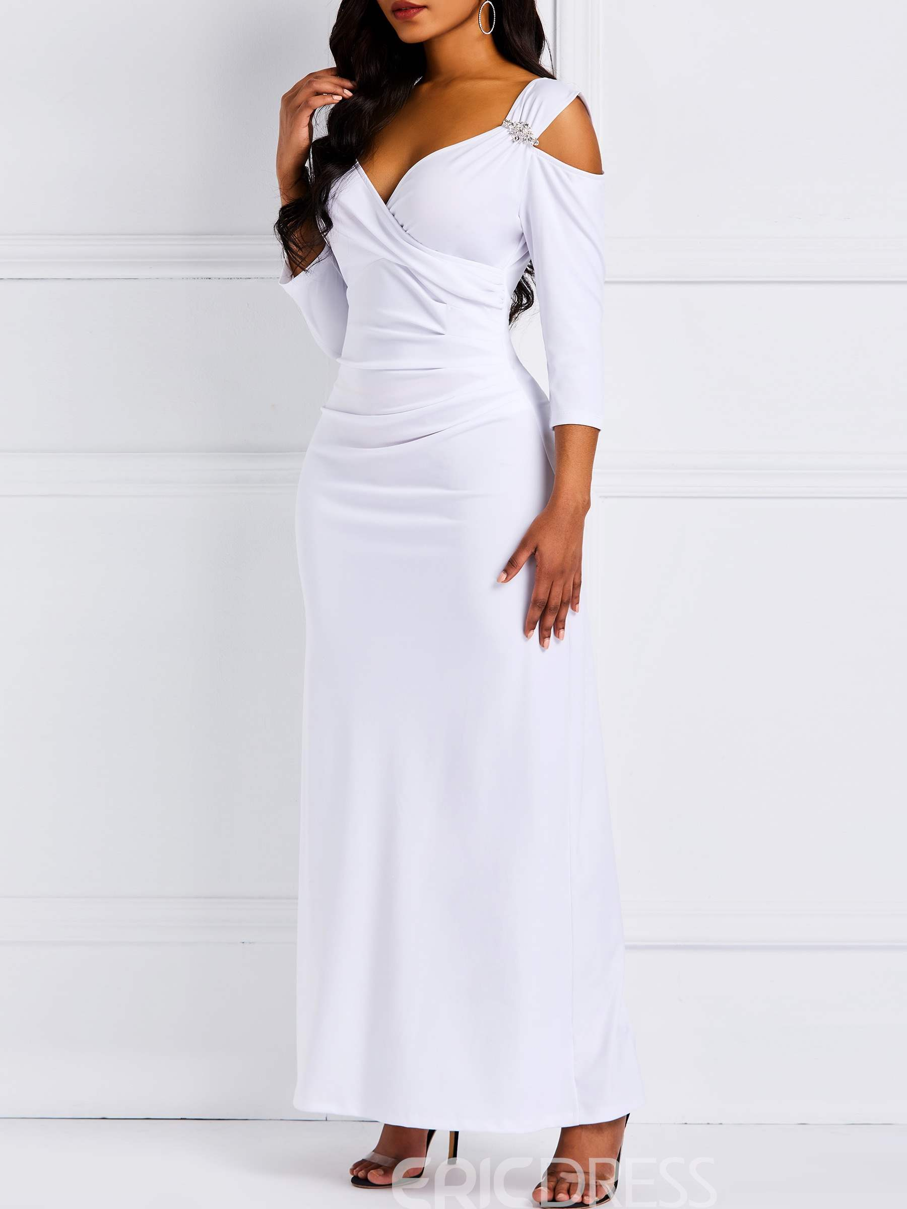 Ericdress Three-Quarter Sleeve Floor-Length Ornament White Dress