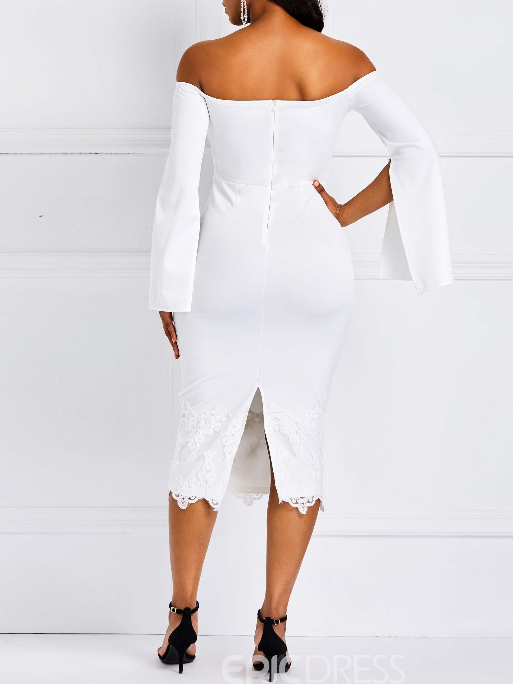 Ericdress Lace Patchwork Bodycon Slash Neck White Dress