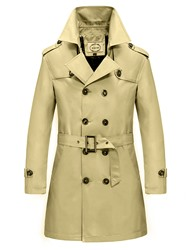Ericdress Solid Color Double-Breasted Belt Mens Trench Coat фото