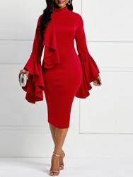 Ericdress Flare Long Sleeve Bodycon Dress thumbnail