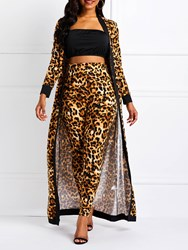 Ericdress Leopard Skinny Stretchy Coat and Pants Womens Two Piece Sets(Without Waistband) thumbnail