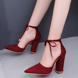 Ericdress Pointed Toe Lace-Up Chunky Heel Womens Pumps thumbnail