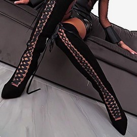 Ericdress Stiletto Heel Cross Strap Women's Thigh High Boots