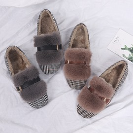 Ericdress Faux Fur Round Toe Block Heel Slip-On Women's Winter Flats